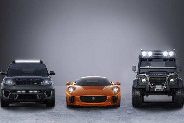Jaguar C-X75, Range Rover Sport SVR, and Land Rover Defender Big Foot