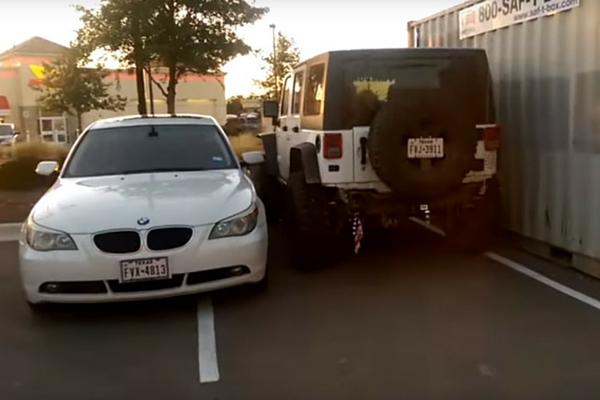 Jeep and double-parked BMW