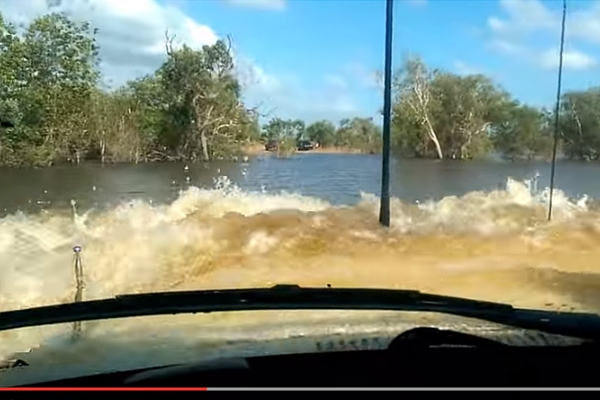 Toyota Land Cruiser river crossing